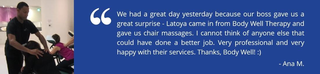 Corporate Chair Massage in FL SF BayWashington DC Regions