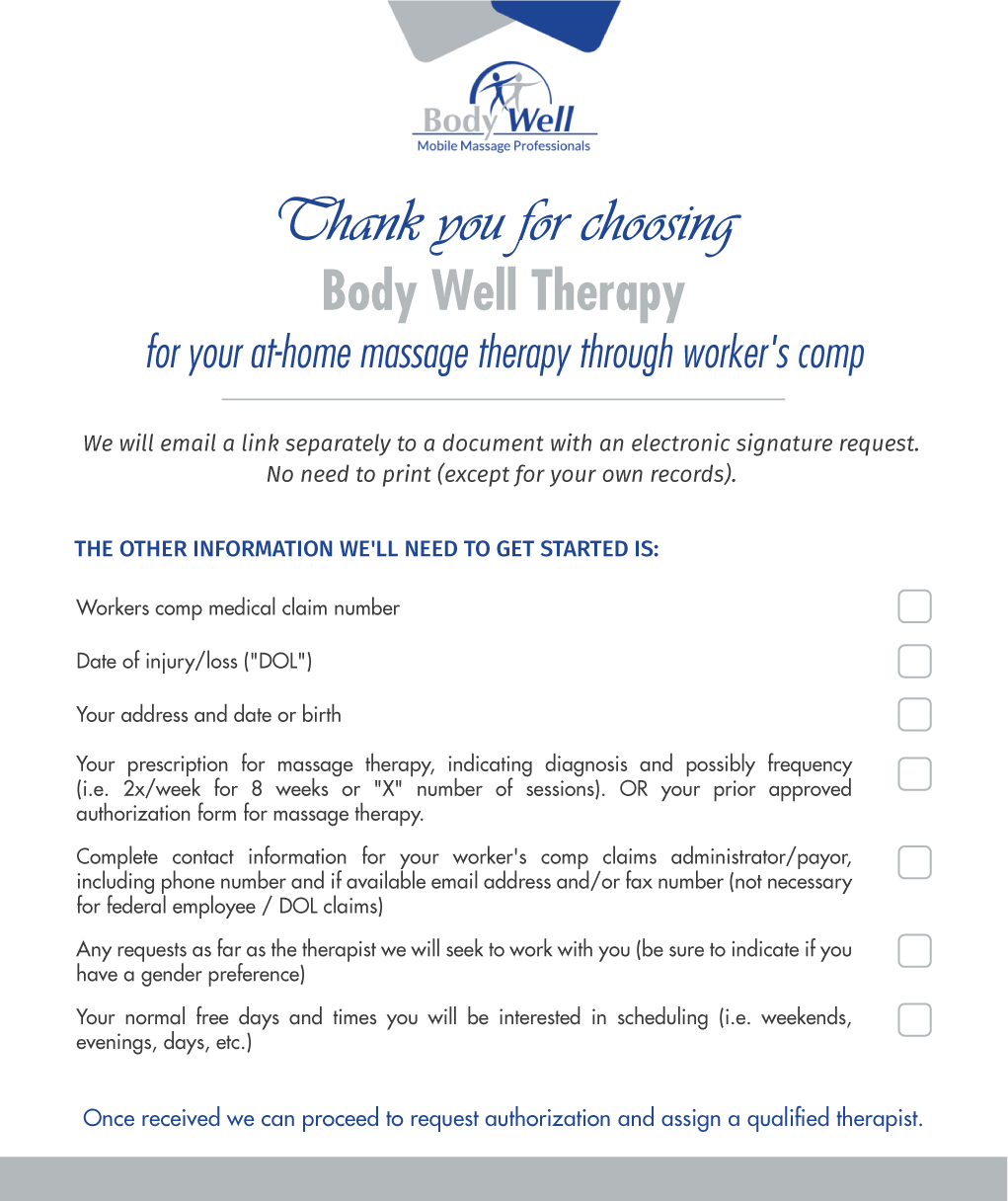 in home massage workers comp getting started doc